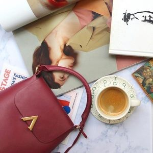 LEATHER Boutique Burgundy Shoulder Bag